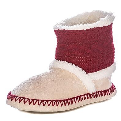 276e4f3e313a Noble Mount Womens Eskimo Indoor Short Boot Slippers - Burgundy Beige -  Medium