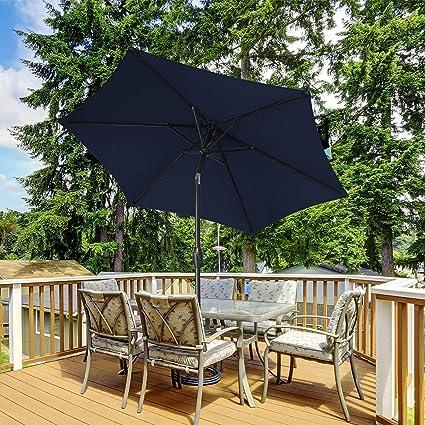 serwall 7 5ft patio umbrella navy blue market umbrella with 6 sturdy ribs outdoor table umbrella with push button tilt crank for garden lawn