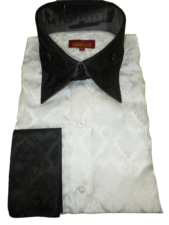 Sangi 1014 Mens White Damask Black High Collar French Cuff Shirt