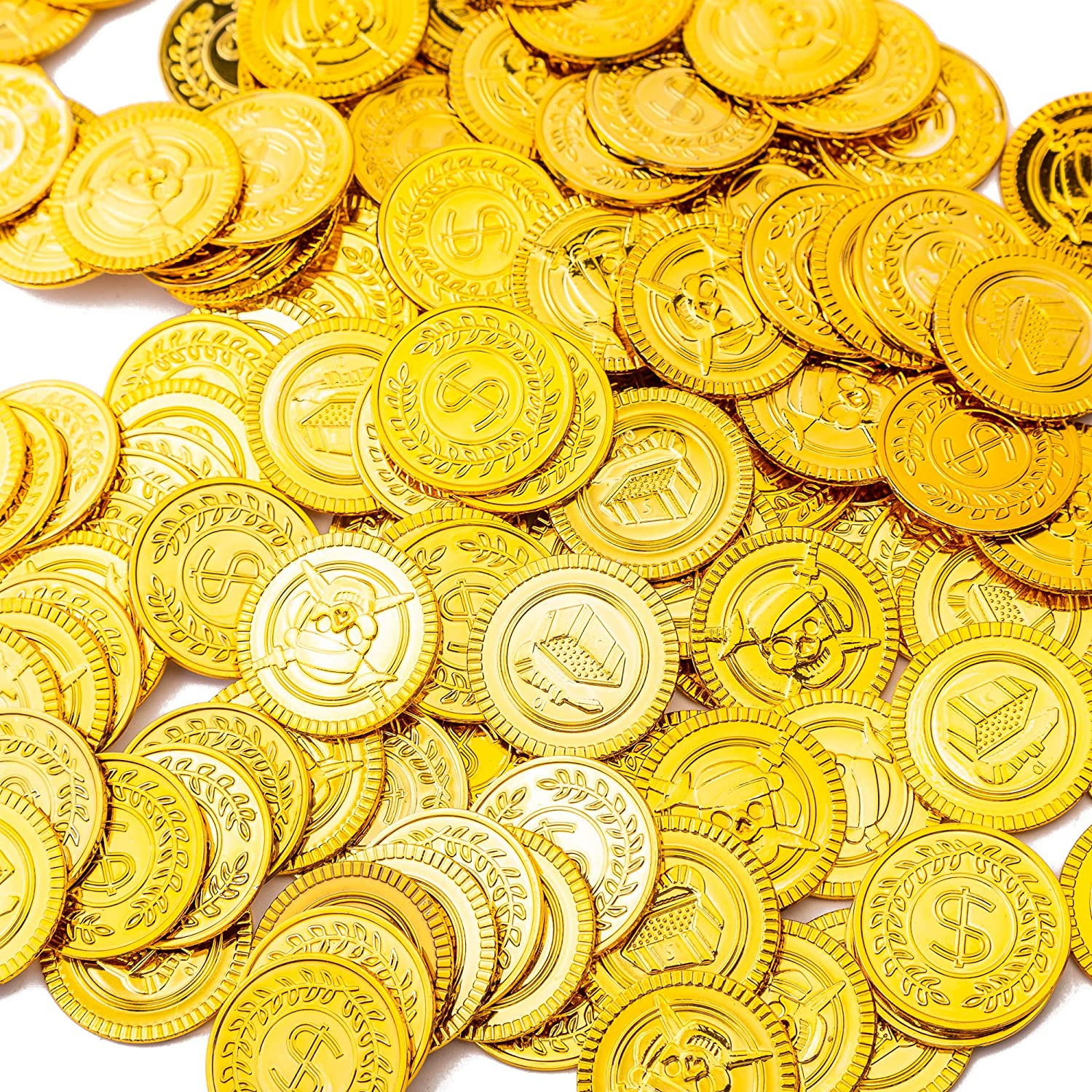 100Pcs Plastic Play Coins Gold Pirate Treasure Hunt Coins Toys For Kids Party Theme Props Decoration,Party Favor,Lucky Draw Games Plastic Gold Coins Great For Kids Toddlers Teachers /¡/ Pemalin