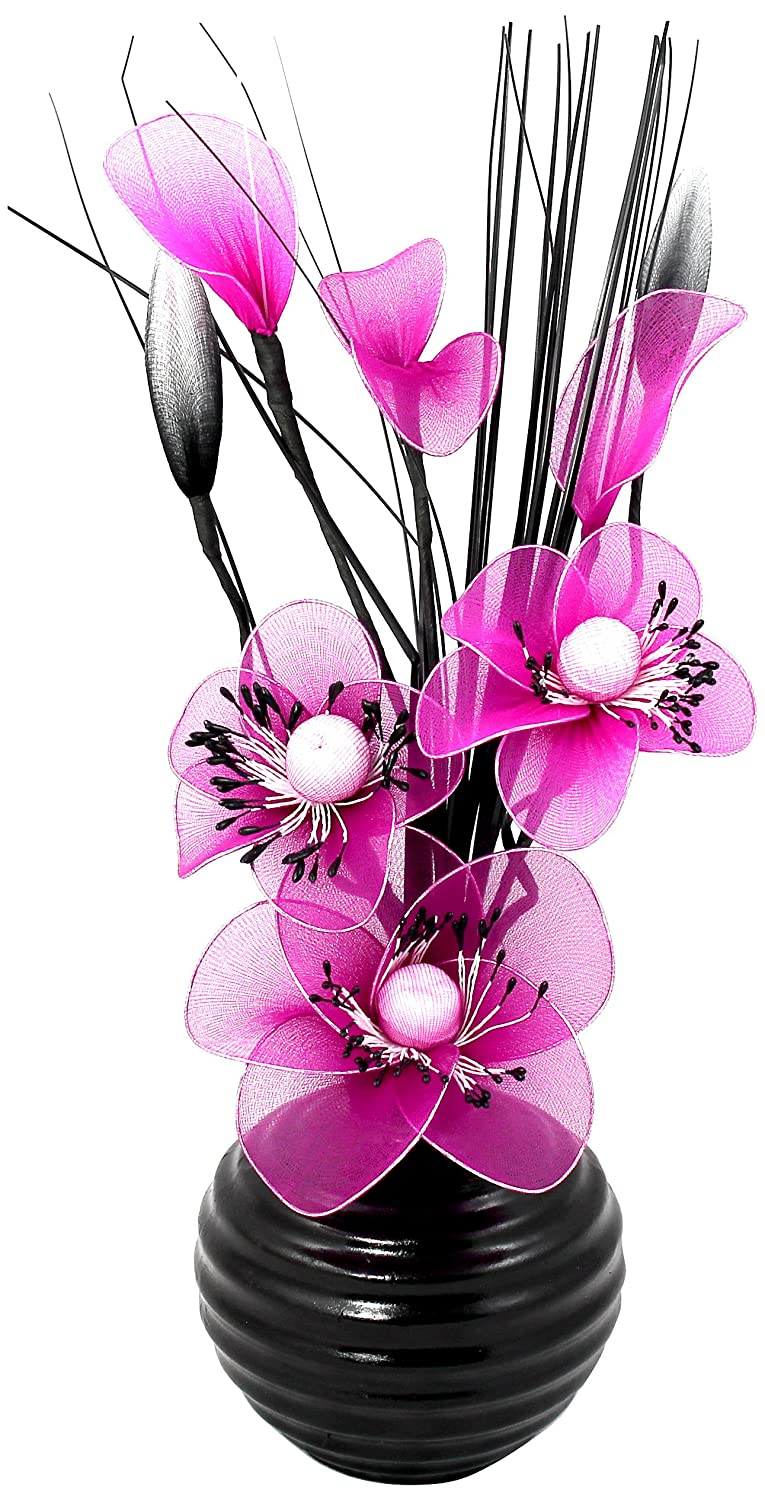 Flourish 704483 813 black vase with pink nylon artificial flowers flourish 704483 813 black vase with pink nylon artificial flowers in vase fake flowers ornaments small gift home accessories 32cm amazon reviewsmspy