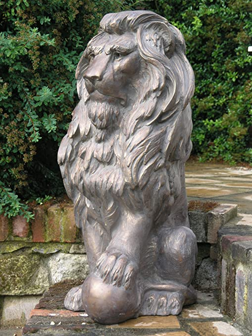 Estatuas de jardín grande - Inglés león escultura de bronce antiguo: Amazon.es: Jardín