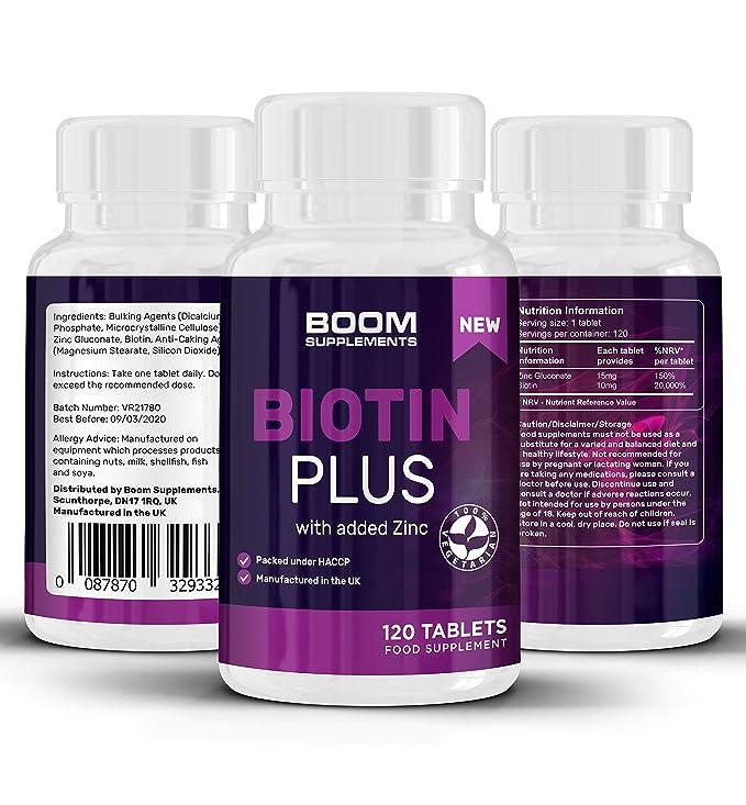 Biotina 10000 mcg Plus | 120 píldoras de biotina para el cabello, con zinc añadido | Biotina y Zinc | Tabletas para el crecimiento del cabello, para mujeres ...