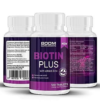 Biotina 10000 mcg Plus | 120 píldoras de biotina para el cabello, con zinc añadido