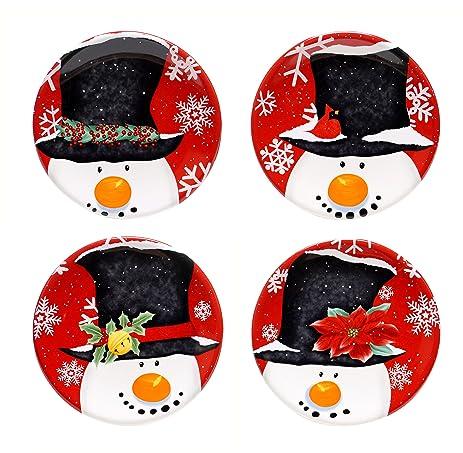 Amazon.com | Certified International Top Hat Snowman Canape Plate ...