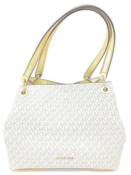 0bdc7f018f Michael Kors Women s Raven Signature Large Shoulder Vanilla White Gold Tote  Bag