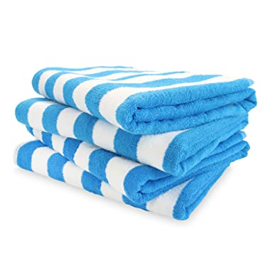 Arkwright California Cabana Striped Oversized Beach Towel Pack of 4, Ringspun Cotton Double Yarn Strength, Perfect Pool Towel, Beach Towel, Bath Towel (Extra Large 30 x 70 Inch, Blue)