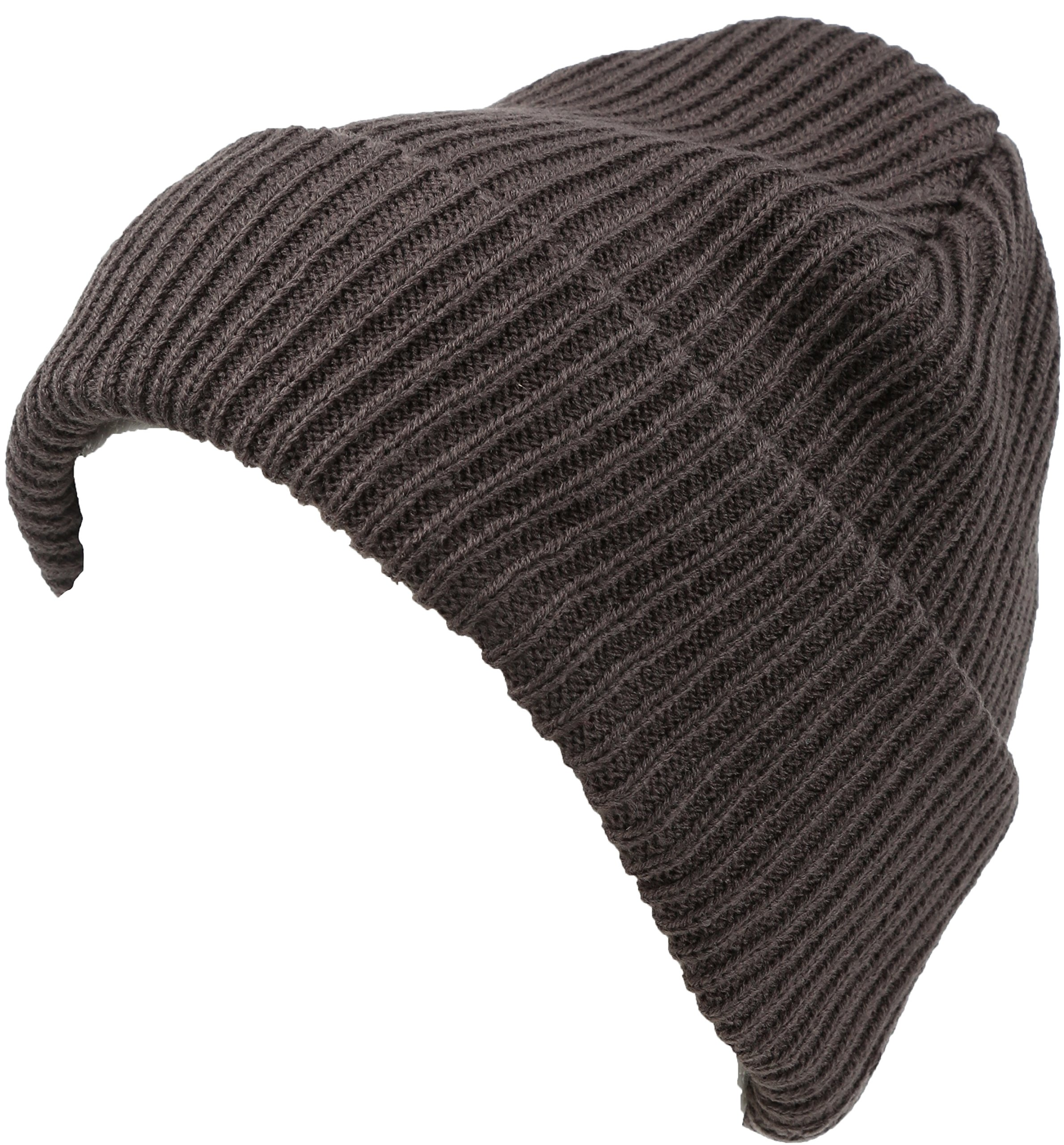 Sakkas 16152 - Mig Solid Ribbed Knit Fold Over Unisex Long Tall Fit Fishermans Beanie Hat - Grey - OS