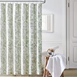 Laura Ashley Home   Natalie Collection   Shower Curtain-100% Cotton & Lightweight, Stylish Floral Design, Machine Washable fo