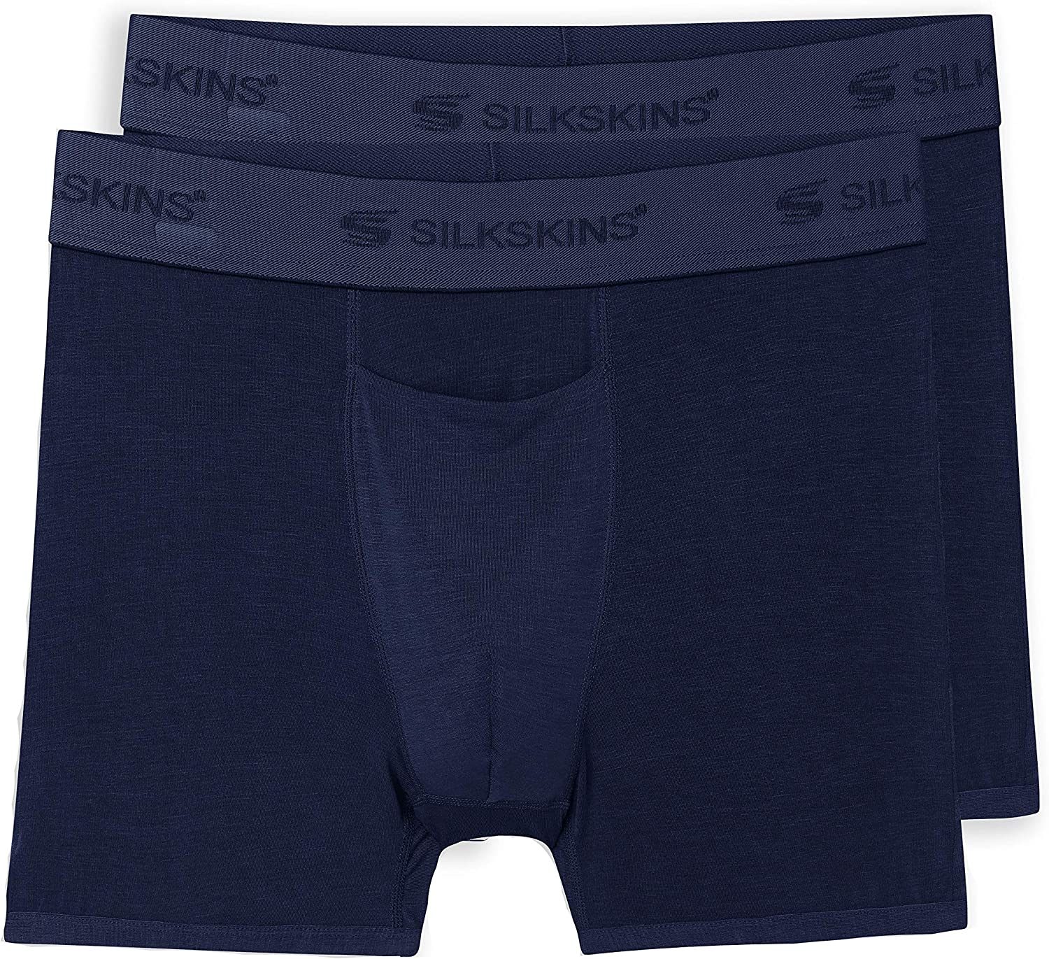 """Terramar mens Silkskins 3"""" Inseam Boxer Briefs With Fly (1 and 2 Pack of Underwear)"""