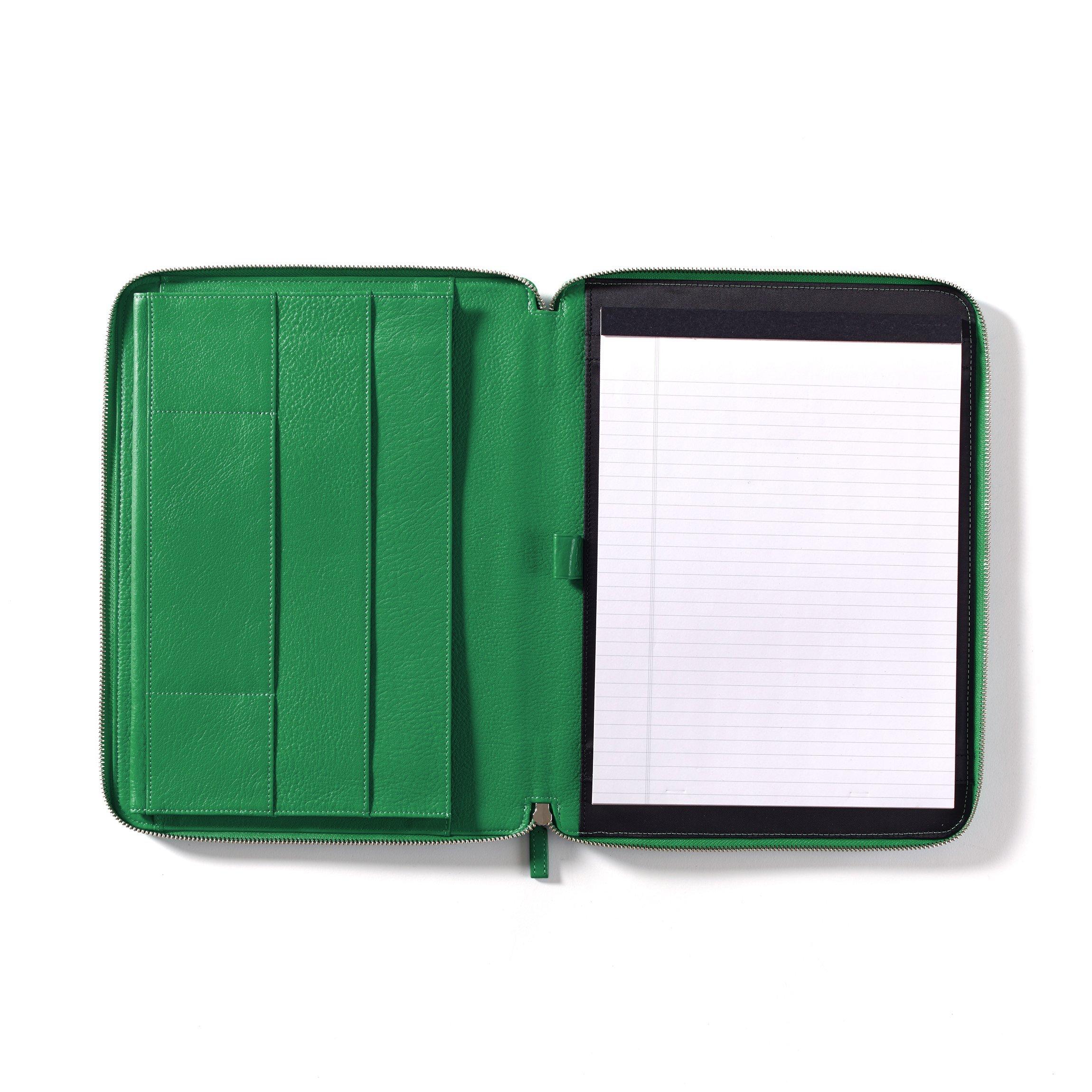 Leatherology Executive Zippered Portfolio with Interior iPad Pocket - Full Grain Leather - Kelly Green (green)