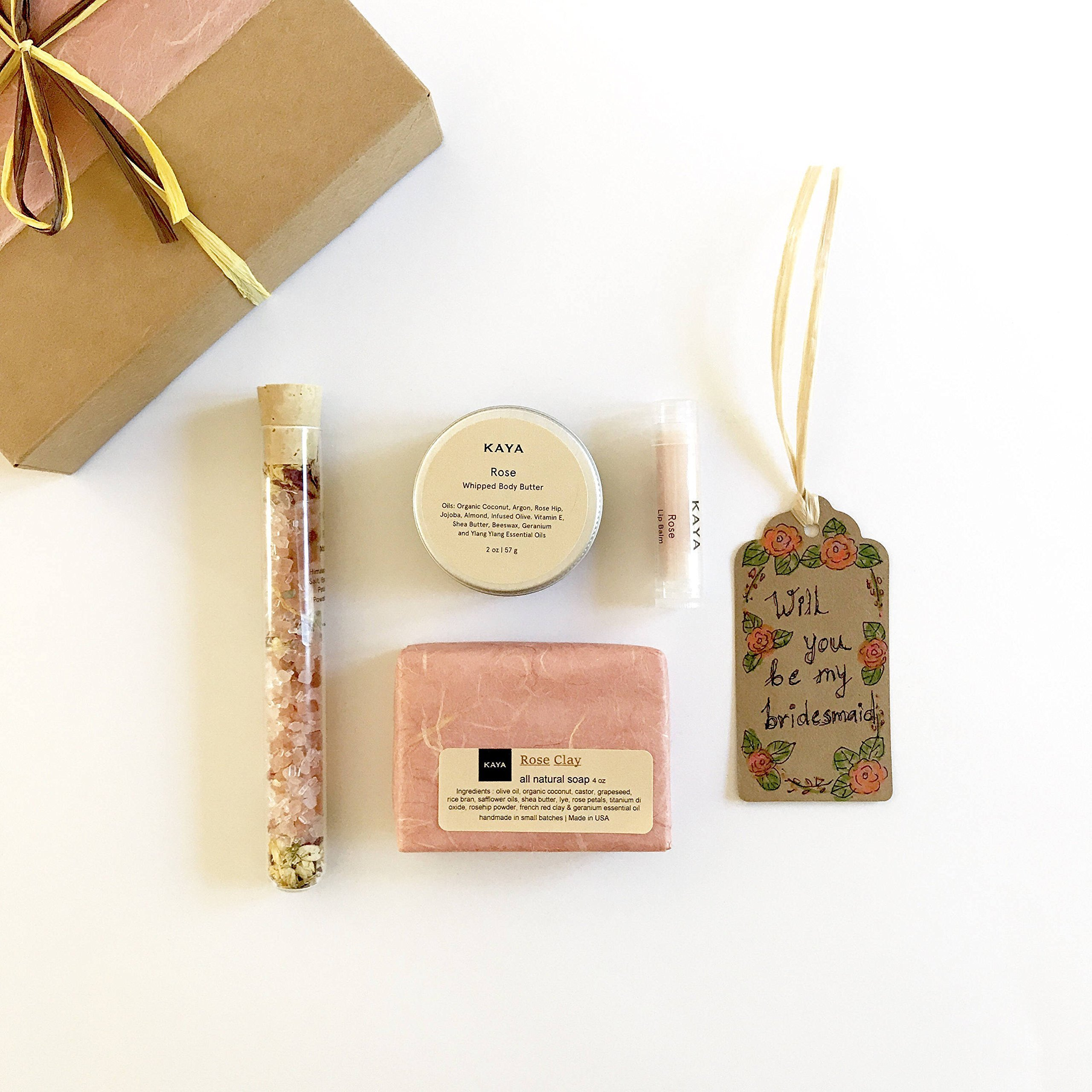 Bridesmaid Gift - Set of 4 - Handmade Bath and Body Spa Sets - Rose Ylang Ylang by KayaSoaps