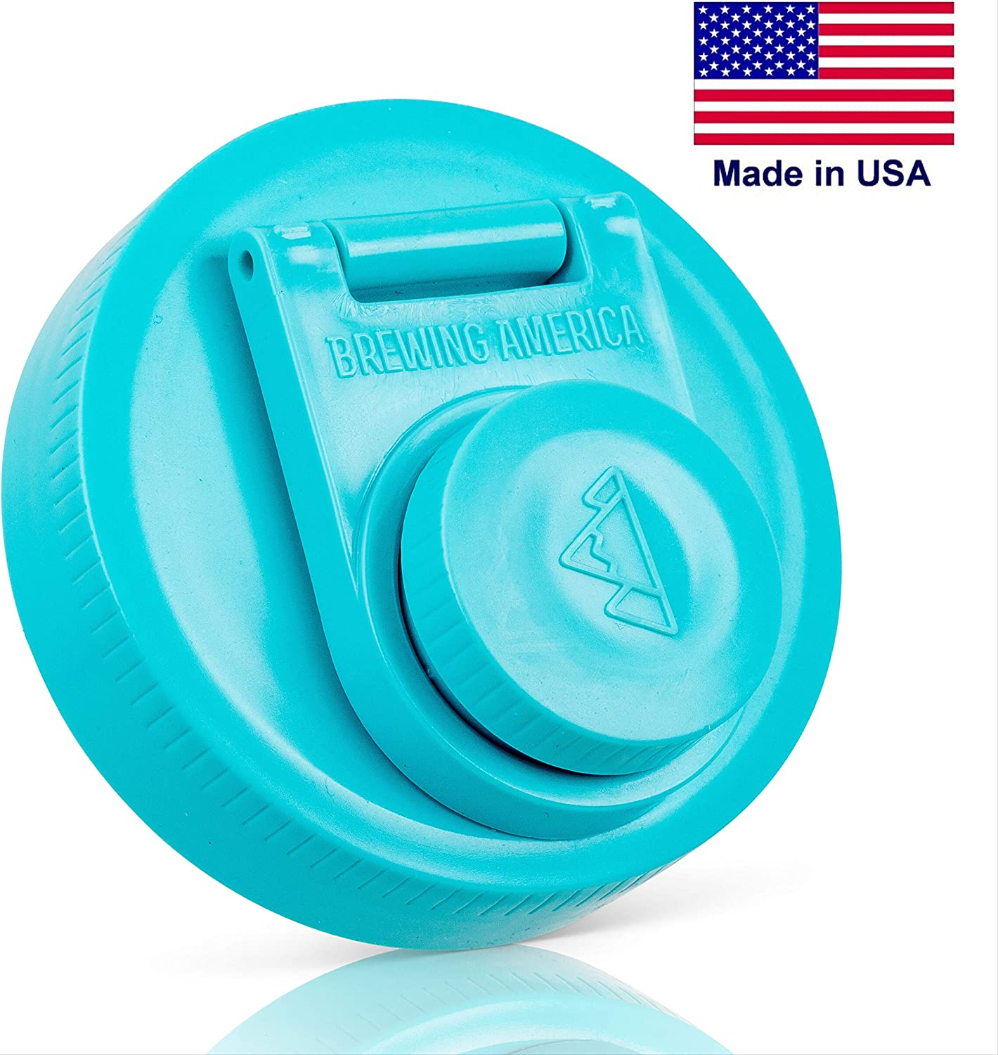 Mason Jar Lids Wide Mouth Plastic 1 Pack - Leak Proof with Flip Cap Screw Top Pouring Spout and Drink Hole - America's Mason Jar Screw Top Lid - Fits Kerr and Ball Canning Jars - MADE IN USA (TEAL, 1)