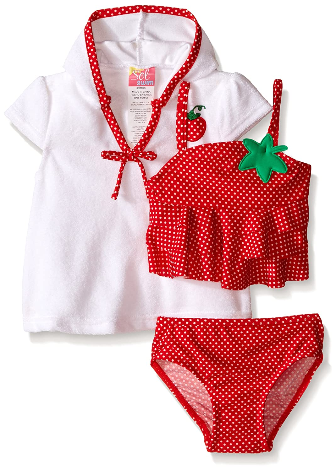 SOL Swim Baby Girls' Strawberry Doll Swimsuit with Terry Cover Up Red 24 Months Solo International Inc Baby