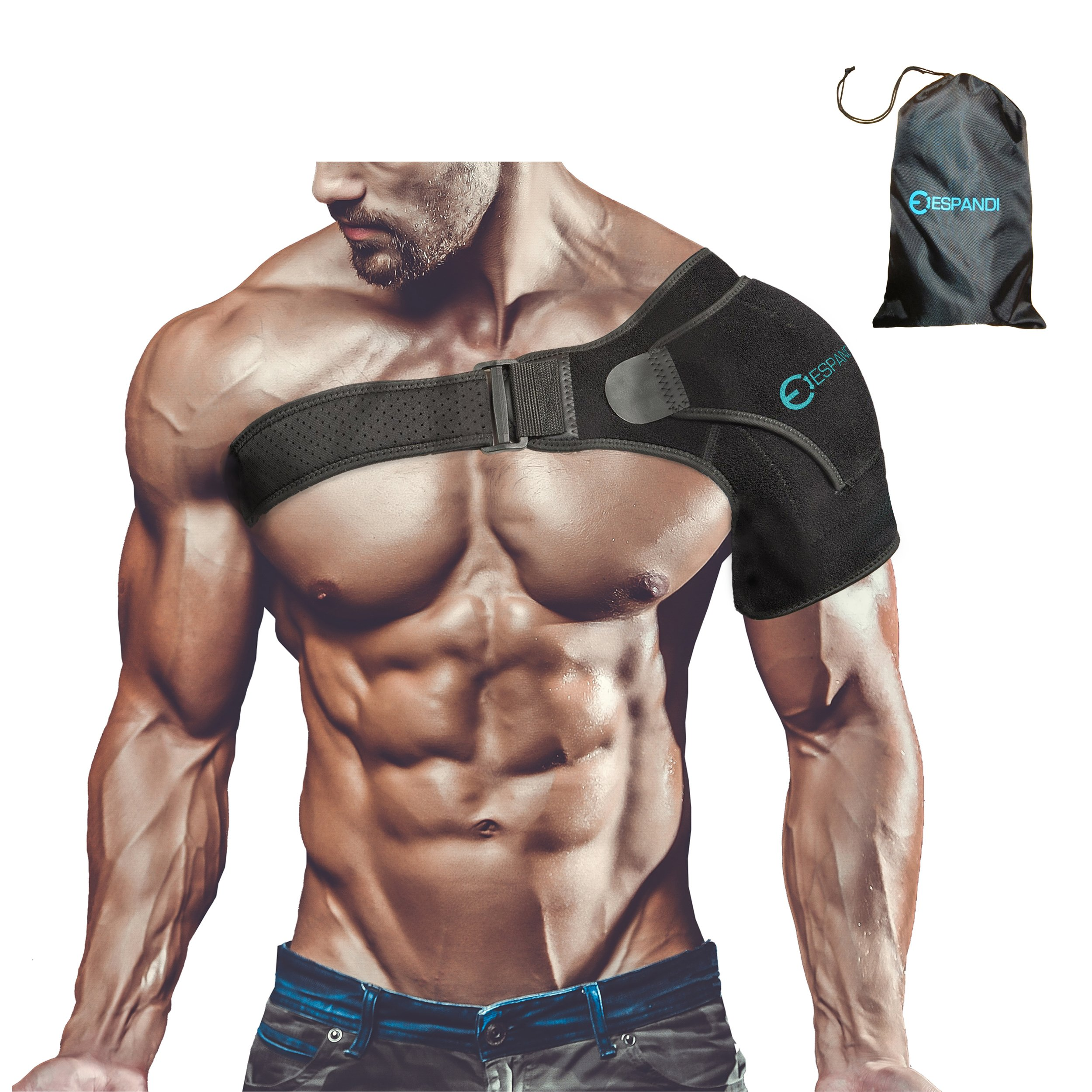 Shoulder Brace with Pressure Pad for women or men; Rotator Cuff Support for Injury Prevention; Dislocated AC Joint; Labrum Tear; Shoulder Pain; Sprain; Neoprene Compression Sleeve; Adjustable Strap