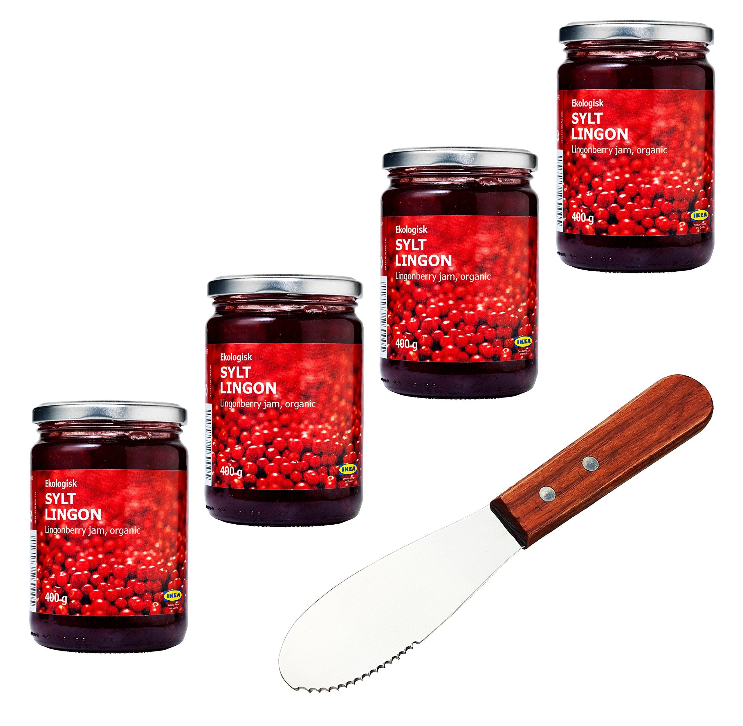 IKEA Organic Swedish Lingonberry Preserves | Jam - Bundle - With Signature Home Kitchen Spreader Knife - Pack of 4 by IKEA