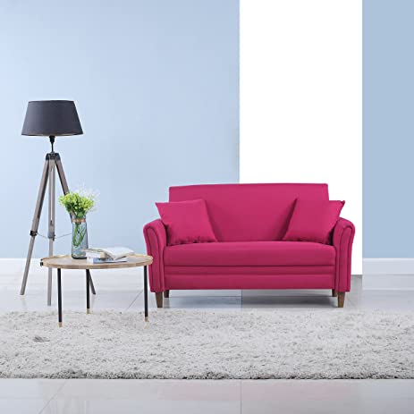 modern 2 tone small space linen fabric loveseat pink
