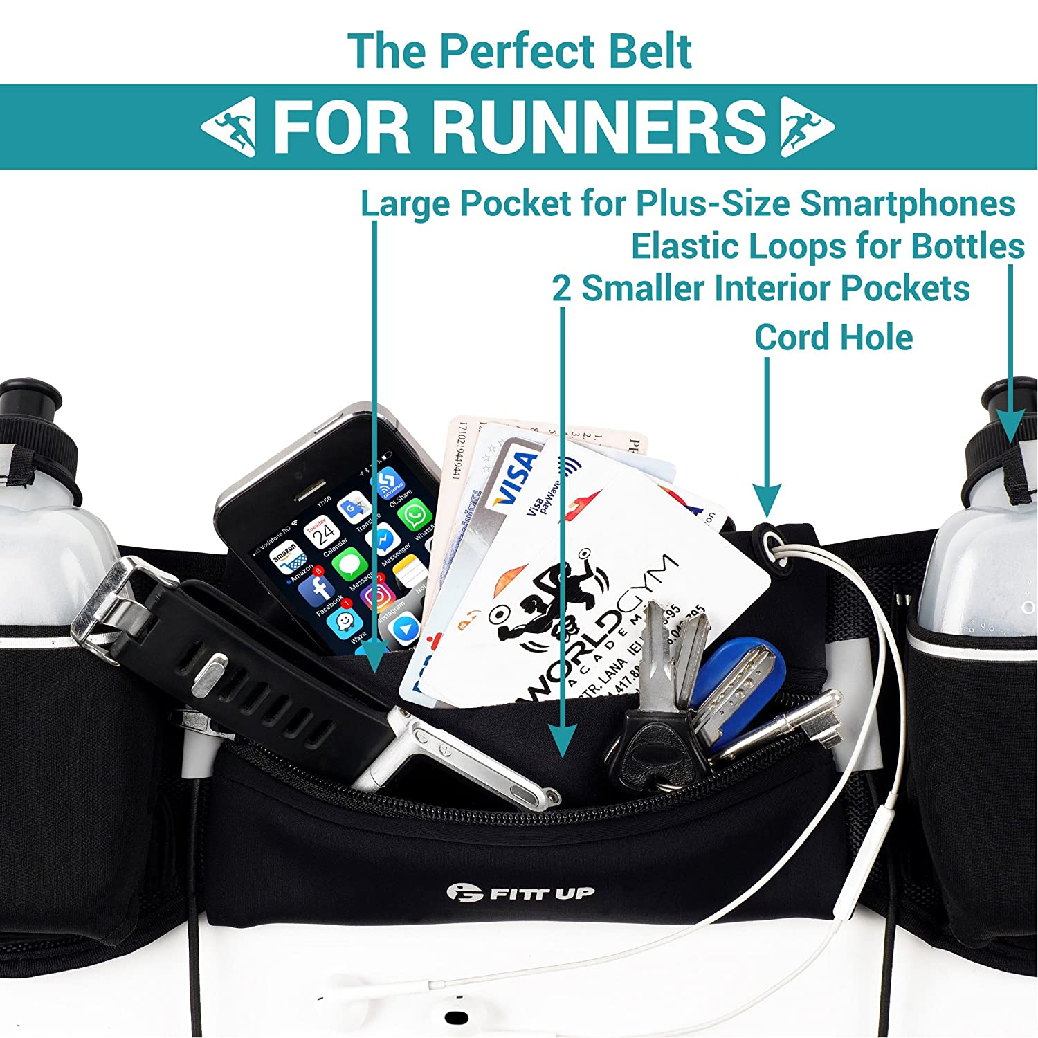 Hydration Running Belt with 2 water Bottles 10 oz BPA Free-Fits all Smartphones-For Running, Race, Marathon, Hiking, Cycling and Climbing-Waterproof Running Belt for Women and Men-Reflective Armband Fitt Up
