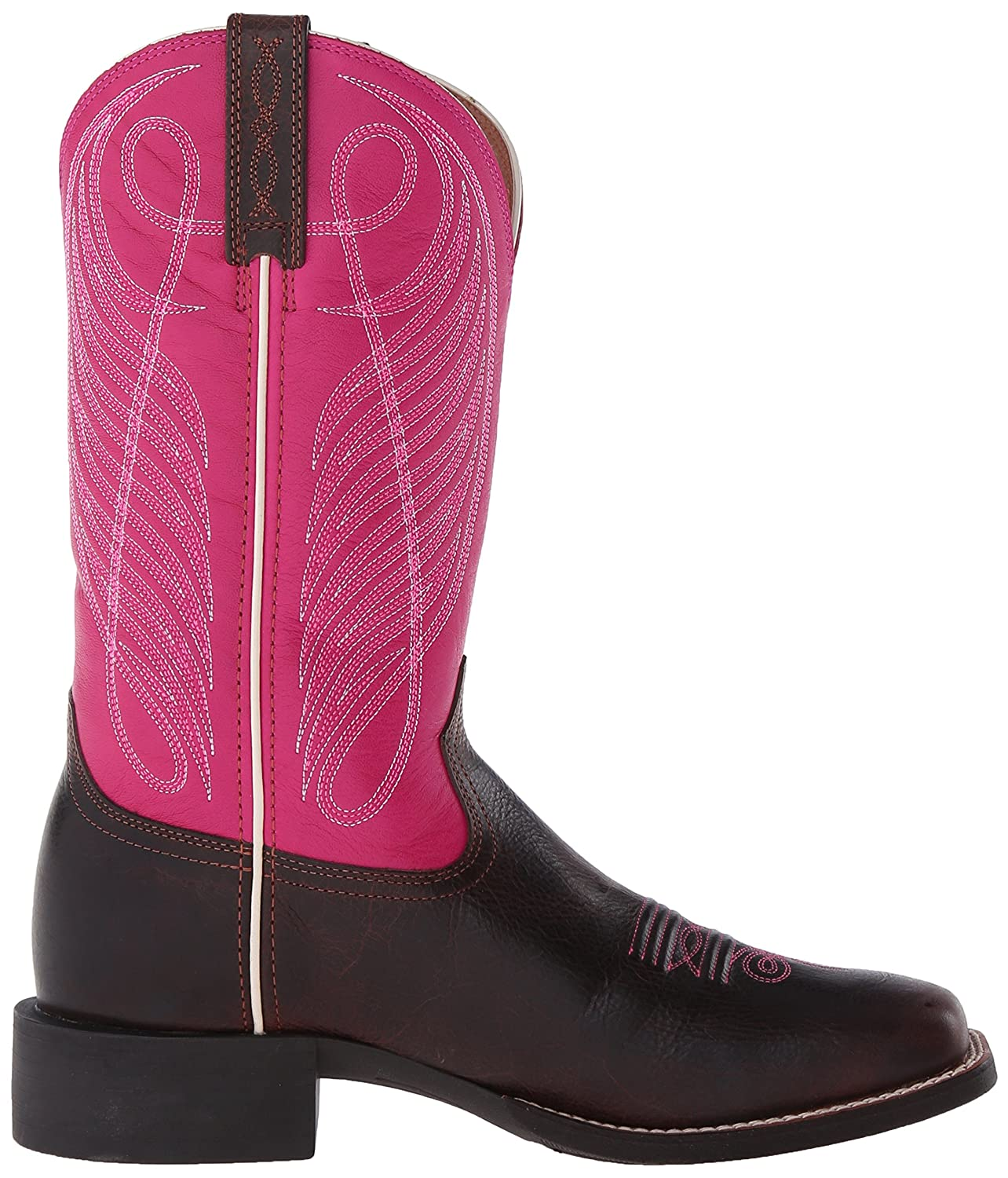 Ariat Women's Round up Wide Square Toe Western Cowboy Boot B00U9XX0RS 5.5 B(M) US|Wicker/Hot Pink