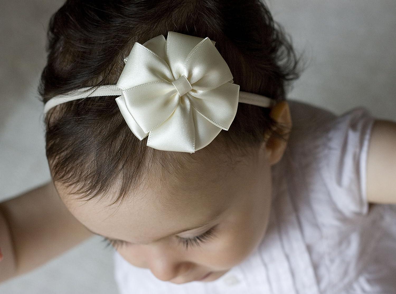 Golden Beam avorio fiore ragazza fascia/ /bambino fascia per adulti archetto/ /battesimo /avorio Kate Bow Handmade fascia/