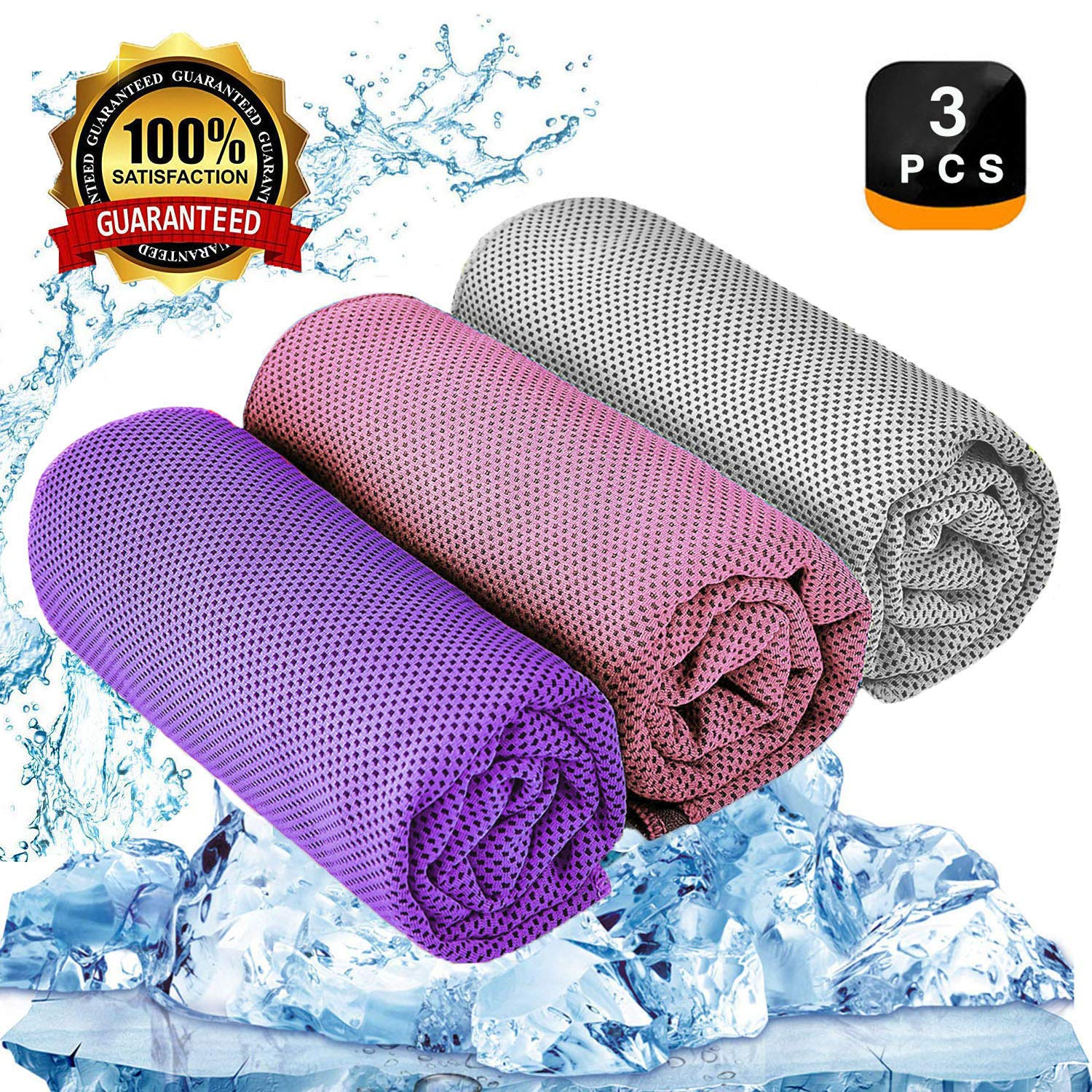 YQXCC Cooling Towel 3 Pcs (47''x12'') Microfiber Towel for Instant Cooling Relief, Cool Cold Towel for Yoga Golf Travel Gym Sports Camping Football & Outdoor Sports (Pink/Light Gray/Purple) by YQXCC