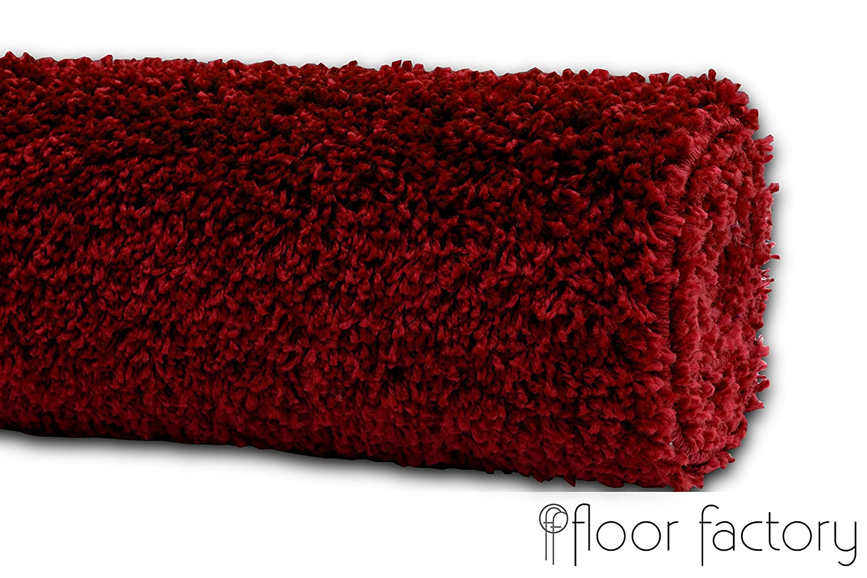 Floor factory Hochflor Shaggy Teppich Teppich Teppich Farbes rot Bordeaux 140x200cm - pflegeleichter und günstiger Langflorteppich 330a9e