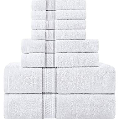 Utopia Towels 8 Piece Towel Set, White, 2 Bath Towels, 2 Hand Towels, and 4 Washcloths