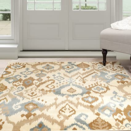 Amazoncom Lavish Home Ikat Area Rug 8 By 10 Creamblue