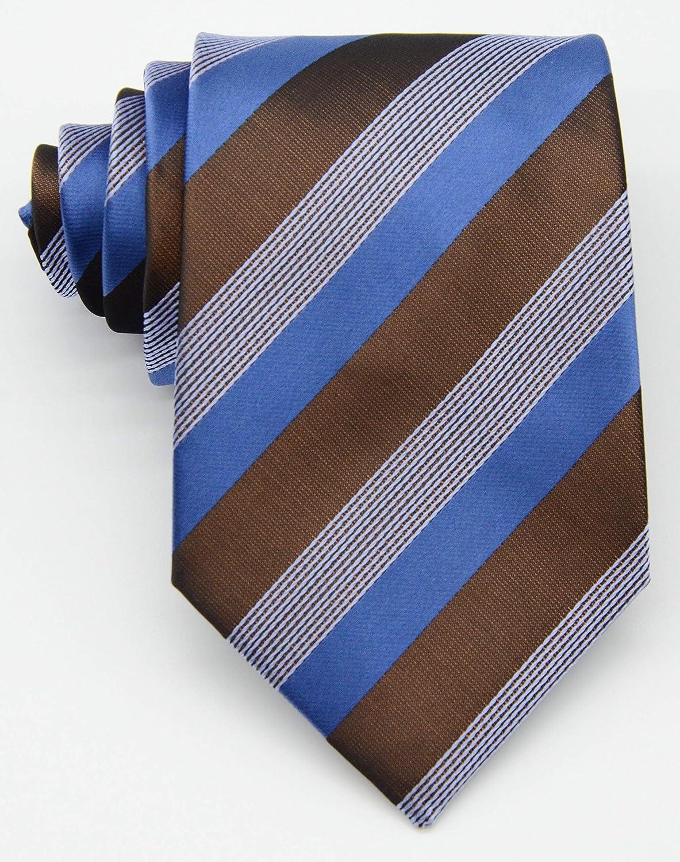 Details about  /Mens Classic Striped Tie Blue Orange JACQUARD WOVEN 100/% Silk Tie Necktie #LE126