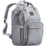 KiddyCare 尿布包背包,多功能防水孕妇包婴儿旅行袋,大容量,时尚耐用,灰褐色 灰色