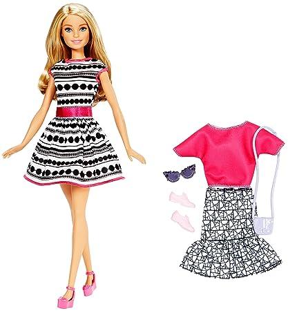 Barbie Glitz Doll Black//White Stripe Ruffle Dress Free Shipping