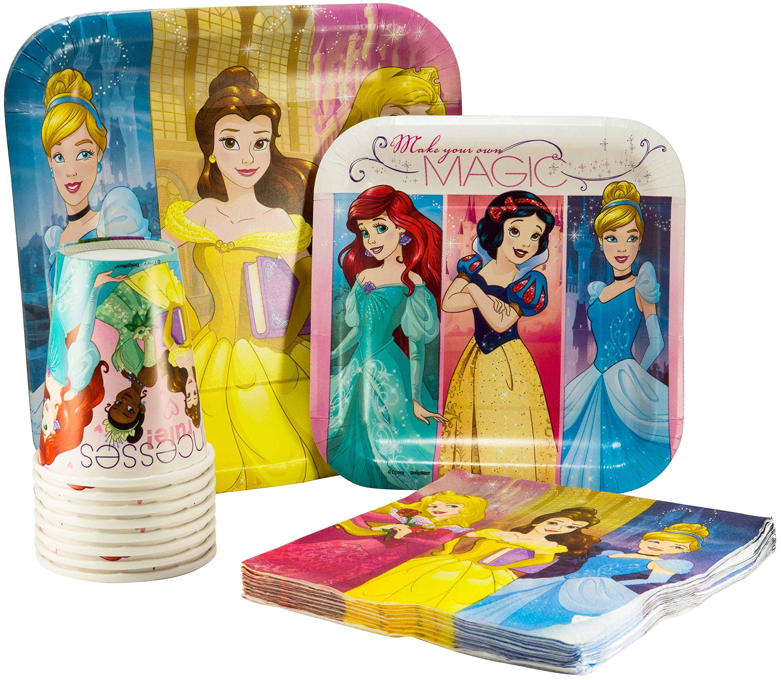 Disney Princess Tableware Pack! Disposable Paper Plates, Napkins and Cups (Set for 16)