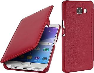 StilGut Book Type Case con Clip, Custodia in Vera Pelle per Samsung Galaxy A3 (2016), Rosso Nappa