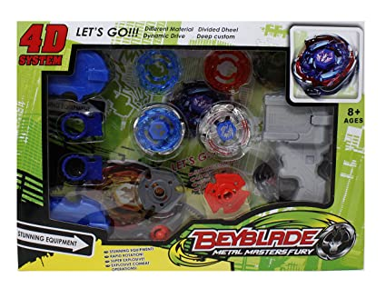 Fusine™ 2 Beyblades with Metal Fury 4D System with 2 Launchers Beyblade  Spinning Toy(Color May Vary)
