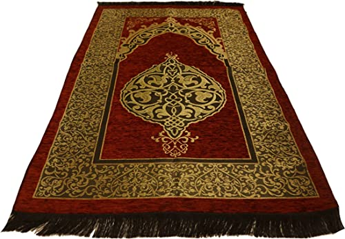 Luxury Islamic Prayer Rug Turkish Ottoman Stamp Sajadah Thin Prayer Rug Muslim Gift Eid Ramadan Red