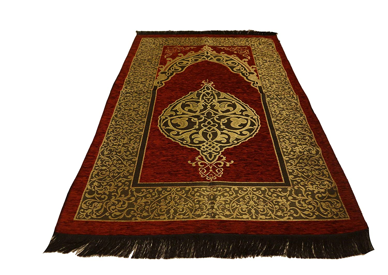 Sparkle Trade Luxury Islamic Prayer Rug Turkish Ottoman Stamp Sajadah Thin Prayer Rug Muslim Gift Eid Ramadan (Beige)