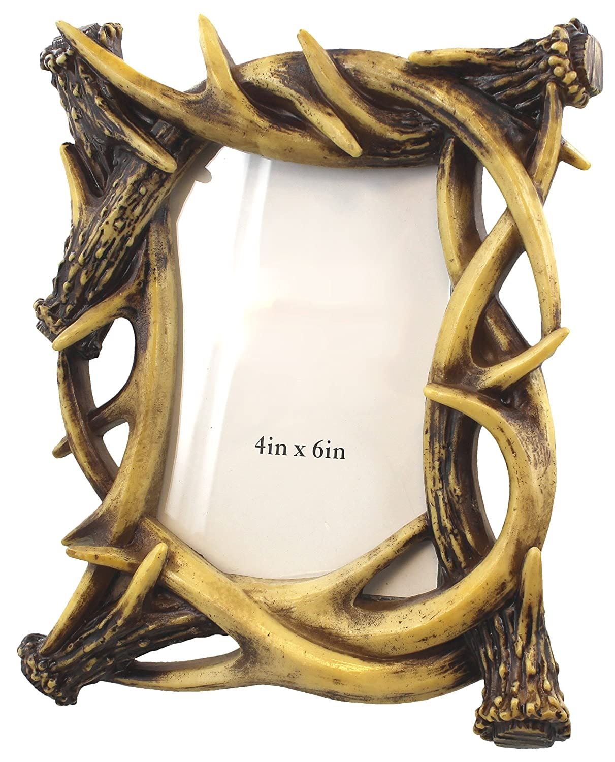Amazon.com   Old River Outdoors Rustic Faux Deer Antler Shed Decor 4 X 6  Picture Photo Frame
