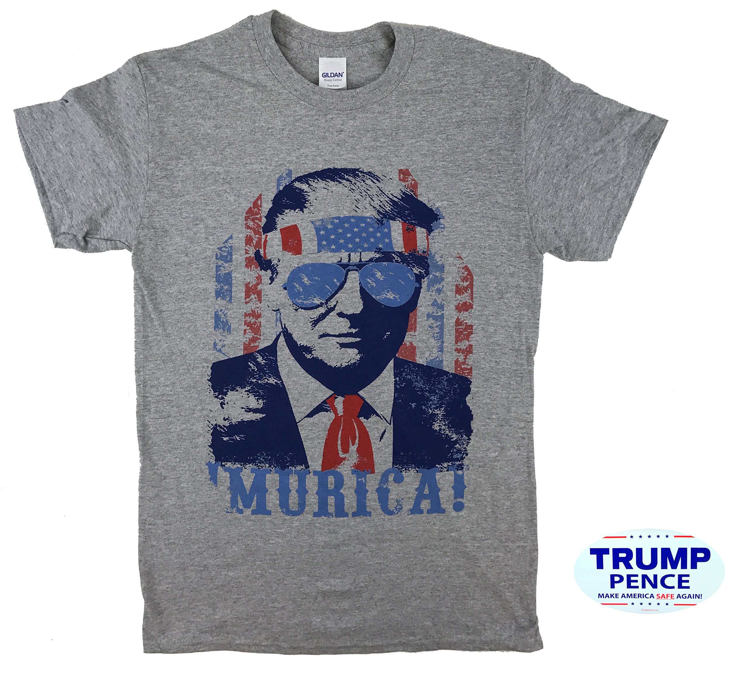 How-z-it Donald Trump 'Murica T Shirt With Free Bumper Sticker