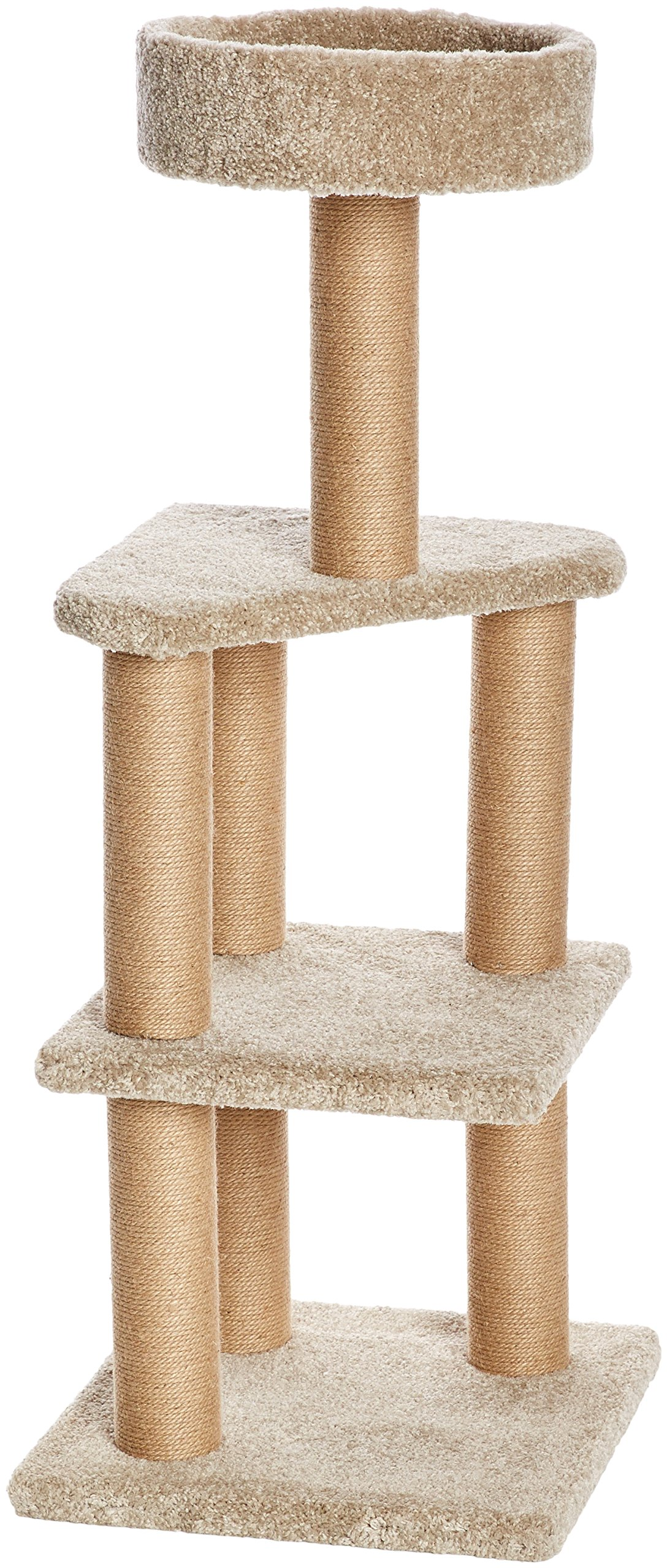 AmazonBasics Large Cat Condo Tree Tower with Scratching Post - 18 x 18 x 46 Inches, Beige by AmazonBasics