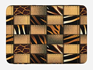 Ambesonne Safari Bath Mat, Jeans Denim Patchwork in Safari Style Wilderness Design Art Print, Plush Bathroom Decor Mat with Non Slip Backing, 29.5