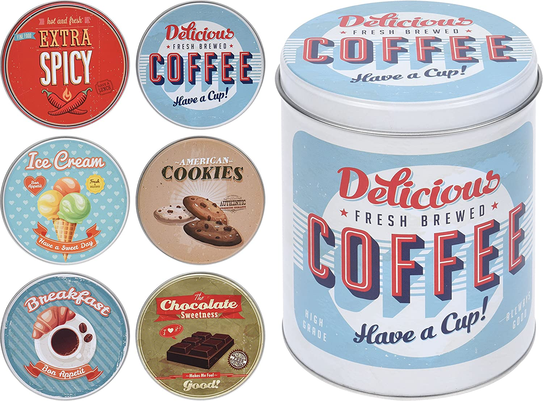 Set di 6stile vintage vintage Kitchen design barattoli in caffè americano, Cookie, Chocolate, colazione, Ice Cream, extra piccante peperoncino latta Elyte Retail