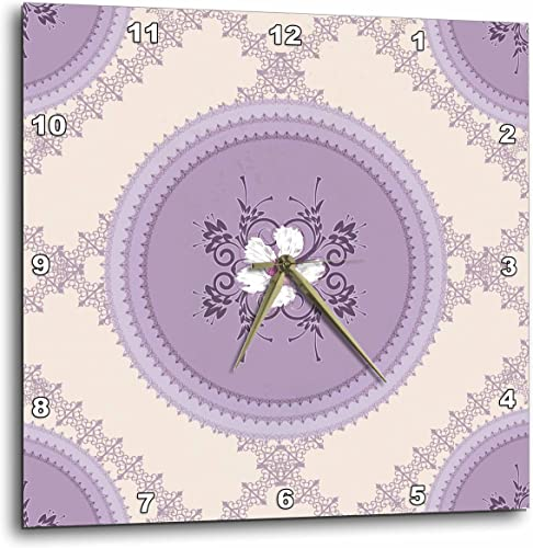 3dRose DPP_42554_2 White Flowers on Lilac-Wall Clock, 13 by 13-Inch