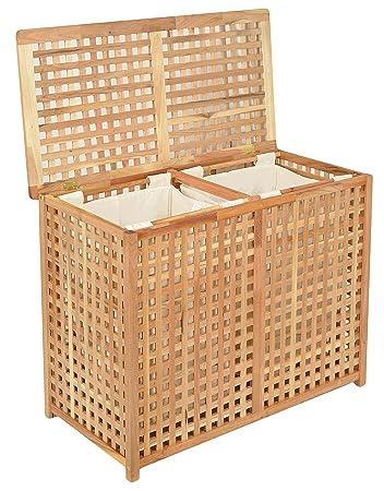 Wäschekorb Holz ts ideen wäschekorb doppelkammer wäsche truhe 67 cm höhe badmöbel