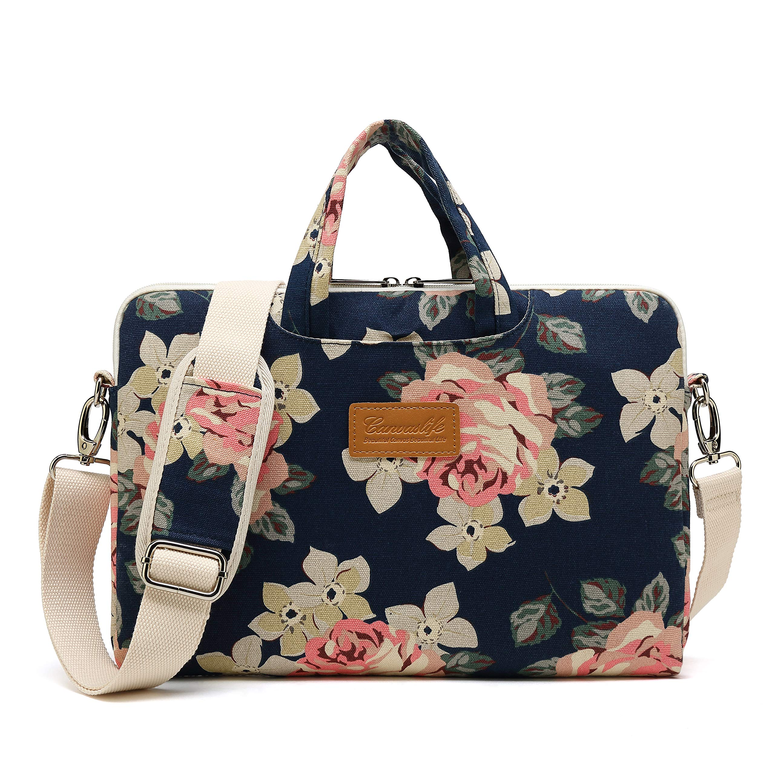 Canvaslife New white roses 15 inch Waterproof Laptop Shoulder Messenger Bag Case with Rebound Bubble Protection for 14 inch-15.6 inch Laptop 15 Case Bag
