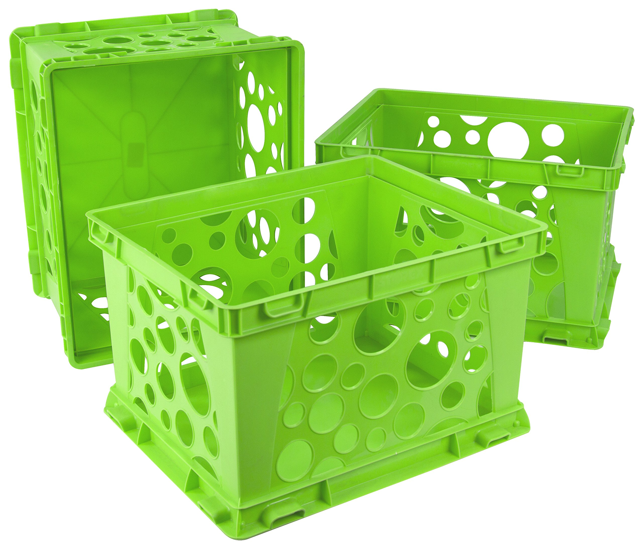 Storex Large Storage and Transport File Crate, 17.25 x 14.25 x 10.5 Inches, Green, Case of 3 (STX61556U03C) by Storex (Image #1)