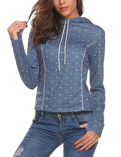 f2e3b0b9b78 Modfine - Sweat à capuche - Crayon - Manches Longues - Femme - Bleu - Small