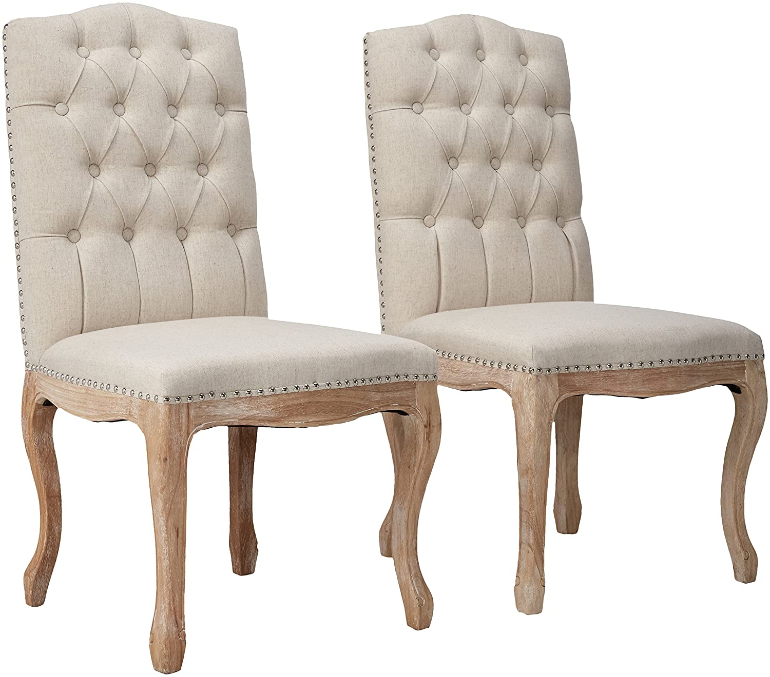 Amazon com best selling tufted fabric weathered hardwood dining chair beige set of 2 chairs