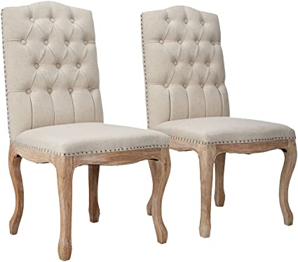 Best Selling Tufted Fabric Weathered Hardwood Dining Chair Beige Set Of 2