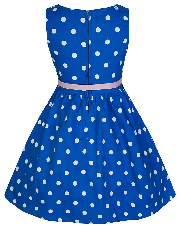 Lindy Bop Childrens Audrey Vintage Inspired Polka Dot Swing Dress (3-4 Years, Blue): Amazon.co.uk: Clothing
