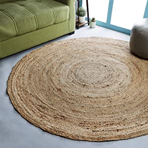 Ramanta Home Jute Braided Rug, 4' Round Natural, Hand Woven Reversible Rugs for Kitchen Living Room Entryway , 4 Feet Round